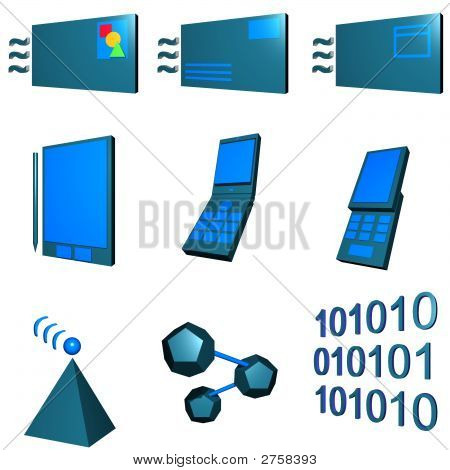 Telecommunications Mobile Industry Icons Set - Green Blue