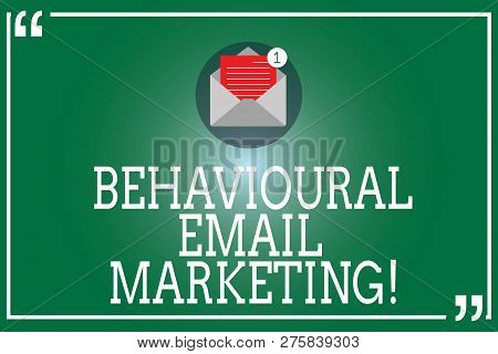 Handwriting Text Behavioural Email Marketing. Concept Meaning Customercentric Trigger Base Messaging