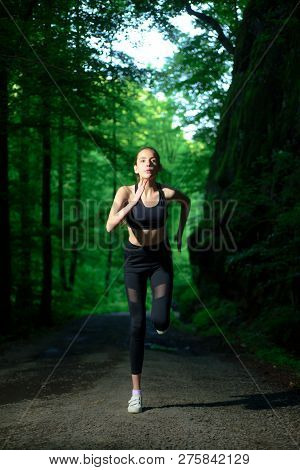 Run To Success. Sport And Sportswear Fashion. Sport Success. Fitness Woman With Good Athlete Body. F