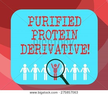 Text sign showing Purified Protein Derivative. Conceptual photo the extract of Mycobacterium tuberculosis Magnifying Glass Over Chosen Man Figure Among the Hu analysis Dummies Line Up. poster
