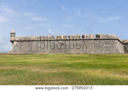 Fortress Wall And Sentry Box At El Morro Or Castillo San Felipe Del Morro In Old San Juan Puerto Ric