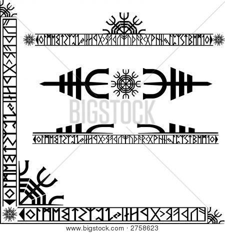 Viking Runic Corner Design