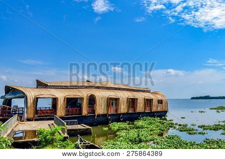 Beautiful Houseboat Ready For Its Passengers. A Picturesque View From The Backwaters Of Kerala, Indi