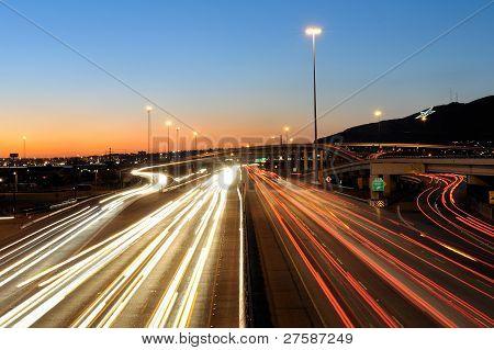 Traffic in El Paso, Texas at Dusk