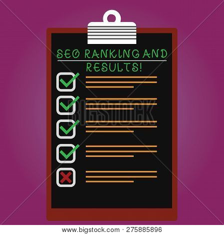 Handwriting Text Seo Ranking And Results. Concept Meaning Search Engine Optimization Statistics Anal