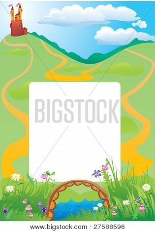 Portrait frame with fairy tale castle and beautiful country side landscape