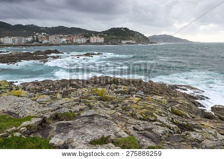 Rocy Beach In The Galician Littoral, Baiona, Pontevedra, Spain.