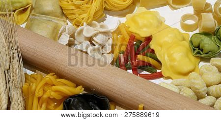 Fresh Italian Pasta Of Many Sizes Made With Fresh Chicken Eggs