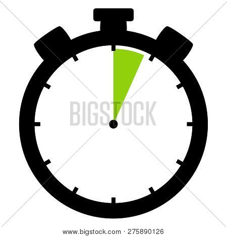 Isolated Stopwatch Icon Black Green Shows 4 Seconds Or 4 Minutes