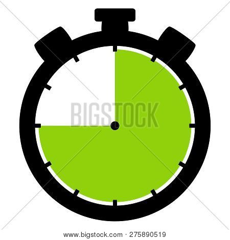 Isolated Stopwatch Icon Black Green Shows 45 Seconds 45 Minutes Or 9 Hours