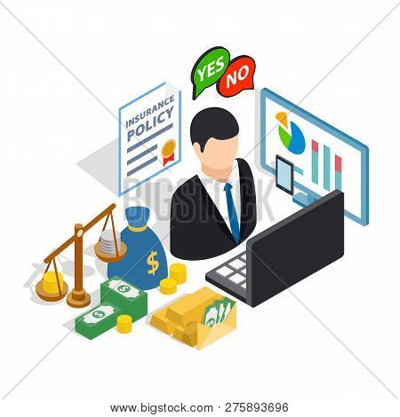Broker Clip Art Set. Isometric Clip Art Of Broker Concept Icons For Web Isolated On White Background