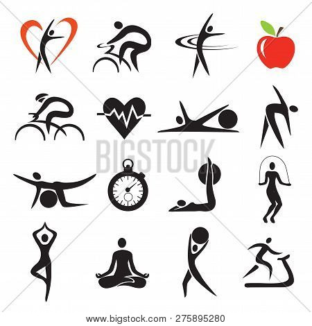 Health Fitness Sport Icons Sets. Set Of Fitness And Healthy Lifestyle Stylized Icons.isolated On Whi