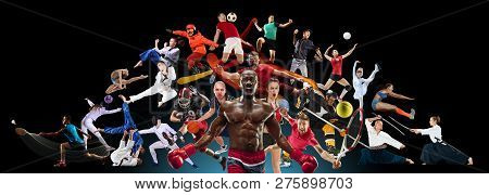 Sport Collage About Kickboxing, Football, Basketball, Ice Hockey, Badminton, Volleyball, Snowboard,