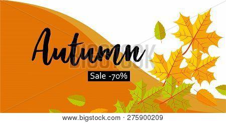 Autumn Big Sale Banner Horizontal. Flat Illustration Of Autumn Big Sale Banner Horizontal For Web De