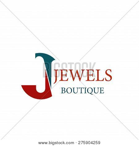 Letter J Icon For Jewelry And Jewel Fashion Accessories Boutique. Vector Letter J Symbol For Luxury