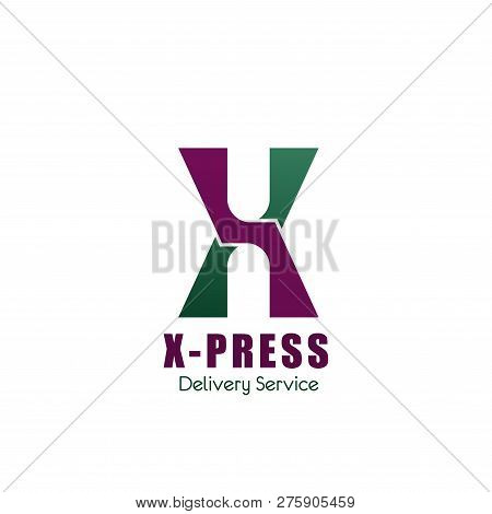 Letter X Icon For Logistics And Delivery Service Company. Vector Geometric Symbol In Letter X For Xt