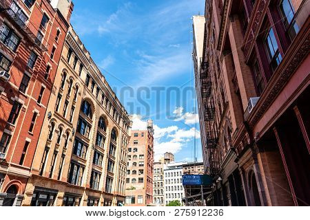 New York City, Usa - June 25, 2018: Low Angle View Of Luxury Apartment Buildings In Tribeca North Di