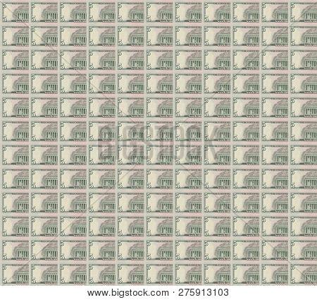 Abraham Abe Lincoln On Usa Five Dollar Bill Close Up, 5 Usd, United States Of America Money Closeup