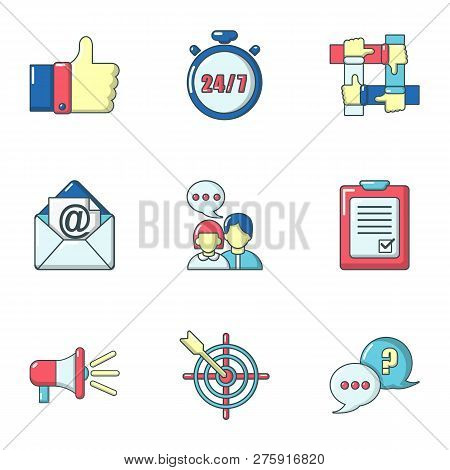 Commercial Activity Icons Set. Cartoon Set Of 9 Commercial Activity Icons For Web Isolated On White