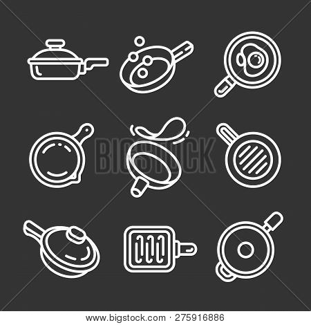 Griddle Icon Set. Outline Set Of Griddle Icons For Web Design Isolated On Gray Background