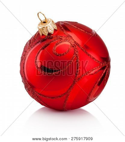 Red Christmas Decoration Bauble Isolated On White Background