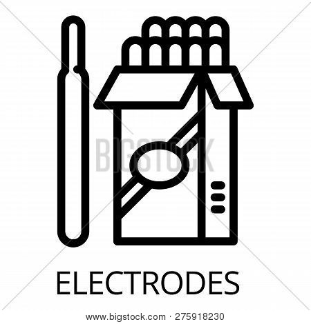 Electrode pack icon. Outline electrode pack icon for web design isolated on white background poster