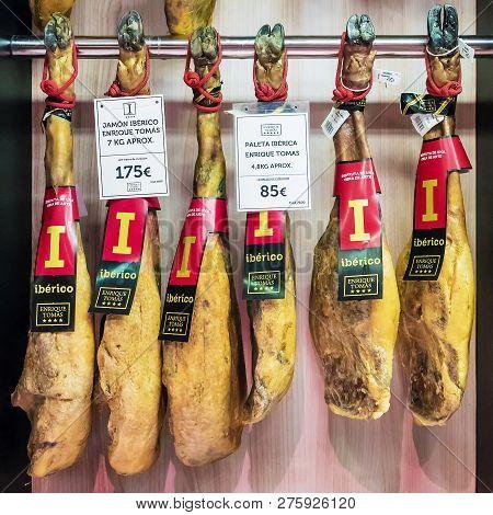 Madrid, Spain September -11, 2015: Iberia Jamon On The Counter Grocery Store. Jamon - Spanish Nation
