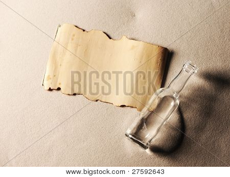 Message In A Bottle. The Paper Is Blank To Put Whatever Message You Desire