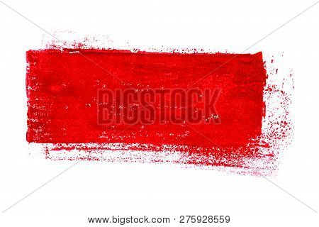 Hand Painted Isolated Red Grunge Brush Stripe Background