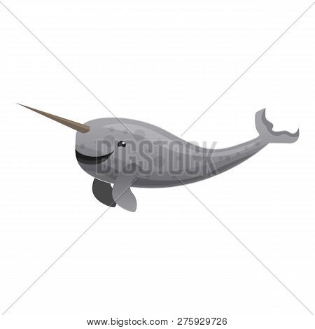 Narwhals Tusking Icon. Cartoon Of Narwhals Tusking Icon For Web Design Isolated On White Background