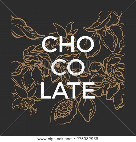 Vector Graphic Template. Chocolate Nature Illustration. Cacao Tree, Branch, Bean, Berry, Fruit. Natu