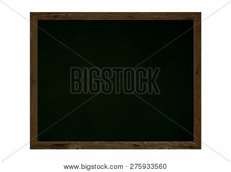 Old Isolated Chalkboard With Brown Wooden Frame