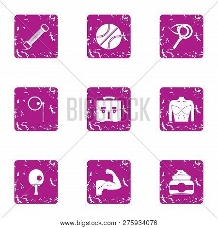 Musculature Icons Set. Grunge Set Of 9 Musculature Icons For Web Isolated On White Background