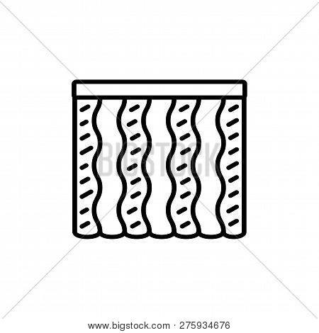 Black & White Vector Illustration Of Combi Wave Curtain Shutter. Line Icon Of Window Vertical Blind
