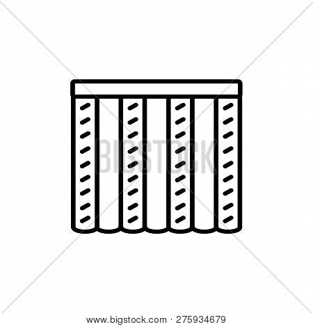 Black & White Vector Illustration Of Combi Curtain Shutter. Line Icon Of Window Vertical Blind Jalou