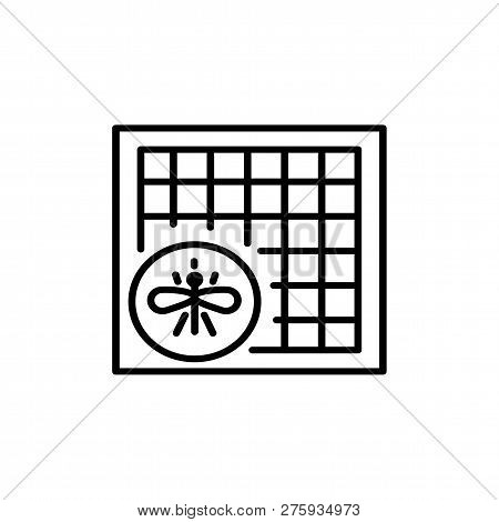 Black & White Vector Illustration Of Window Insect Mosquito Net. Line Icon Of Fly Screen. Isolated O