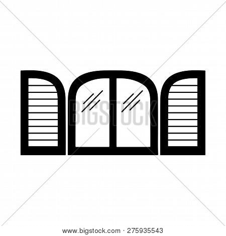 Black & White Illustration Of Old Arch Window Shutter. Vector Flat Icon Of Wooden Vintage Outdoor Ja