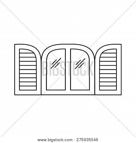 Black & White Illustration Of Old Louver Arch Window Shutter. Vector Line Icon Of Wooden Vintage Out