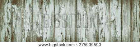 Wide Rustic Vintage Background. Shabby Aged Wooden Planks With Peeling Paint. Wood Retro Texture
