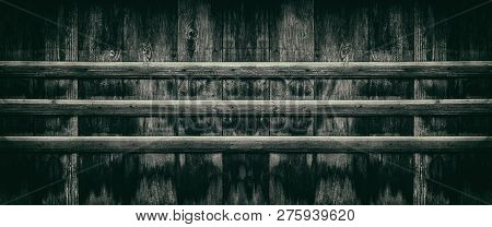 Old Blacked Wooden Boards - Wide Panoramic Texture. Weathered Aged Wood Plank Fence Panorama. Dark R