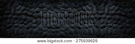 Black Stone Wall Wide Panoramic Texture. Dark Gloomy Spacious Background