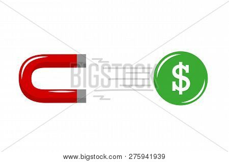 Magnet Power Attracting Dollar Coin Success Strategy Attraction On White Background Vector Illustrat