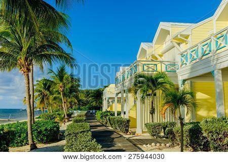 Little Cayman, Cayman islands, Nov 2018, the Conch Club houses by the Caribbean Sea