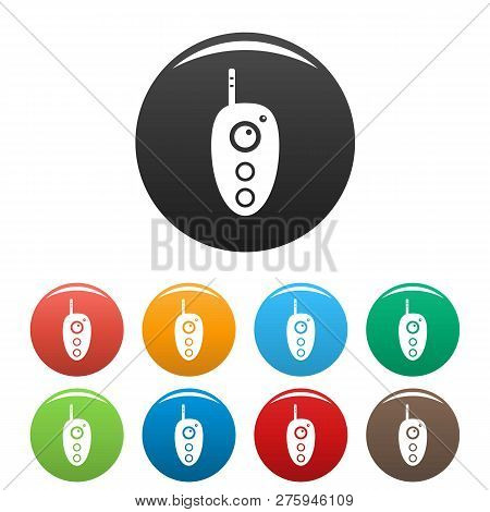 Remote Controller Icons Set 9 Color Isolated On White For Any Design