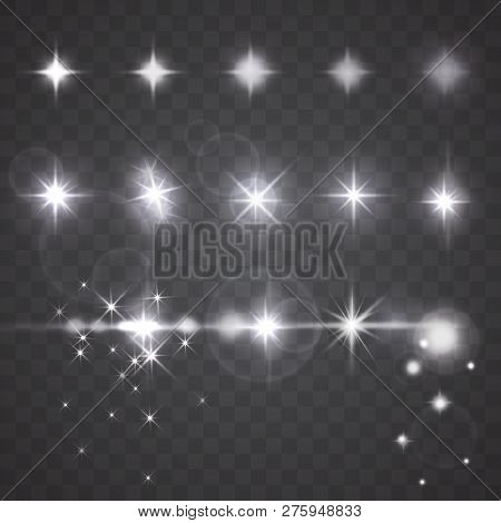 Lights, Stars Or Twinkles With Camera Lens Effects. Set Of Flash Light, Flare, Glowing Sparkles, Spo