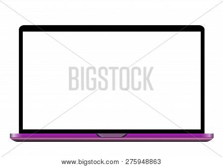 Pink Laptop With Blank Screen Isolated On White Background