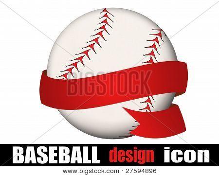 Baseball Ball With A Ribbon