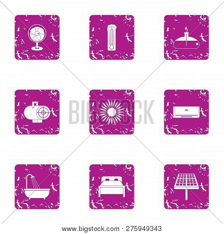 Cheap Motel Icons Set. Grunge Set Of 9 Cheap Motel Icons For Web Isolated On White Background