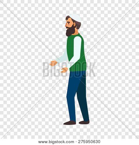 Refugee man hopeless icon. Flat illustration of refugee man hopeless vector icon for web design poster