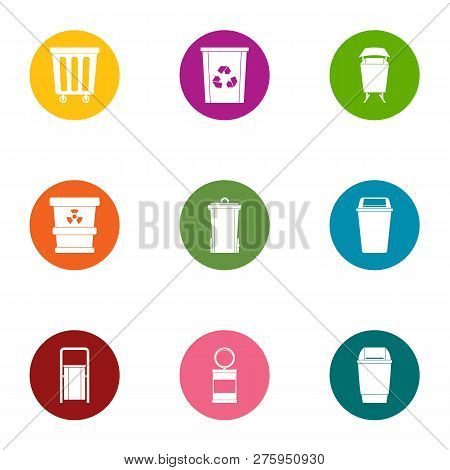 Waste Matter Icons Set. Flat Set Of 9 Waste Matter Icons For Web Isolated On White Background